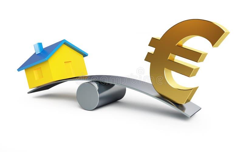 Argent d'échelles euro ou une maison illustration libre de droits