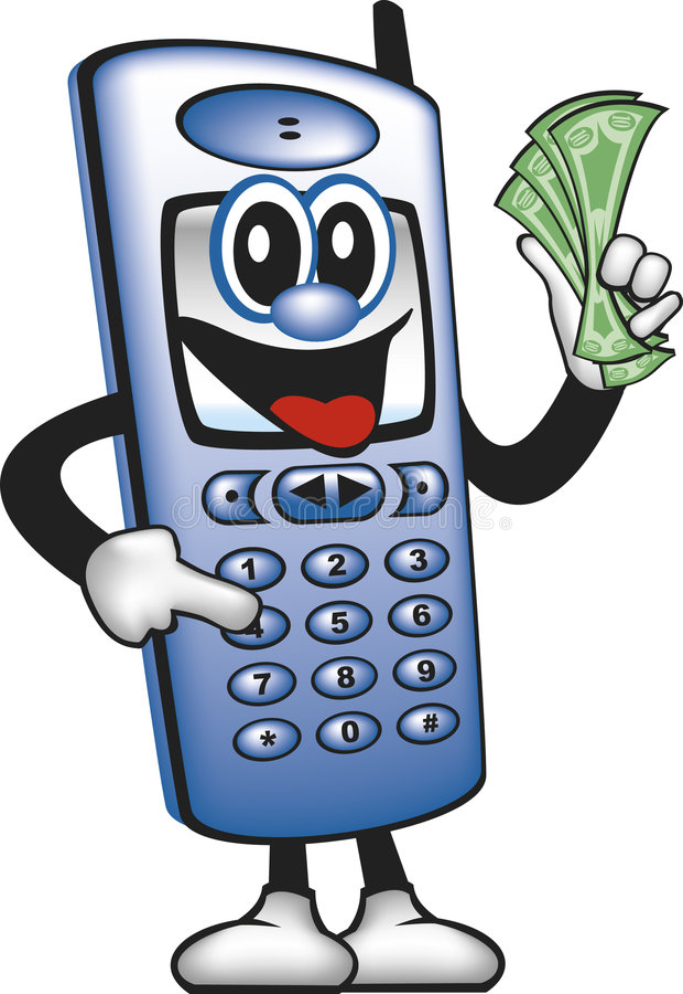 Argent d'économie d'homme de téléphone portable illustration stock