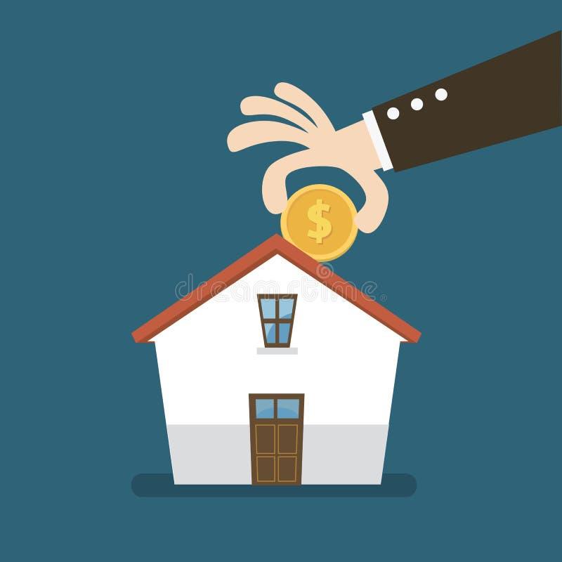 Argent d'économie pour acheter une maison Investissement de la maison d'argent illustration stock
