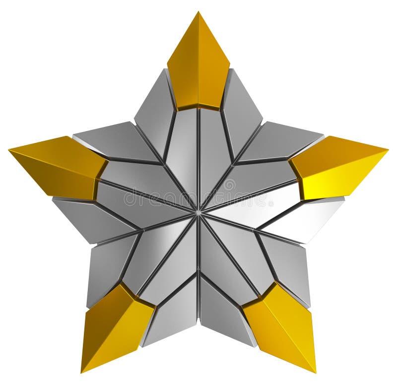 Argent d'étoile de Noël et 3d d'or d'isolement illustration stock