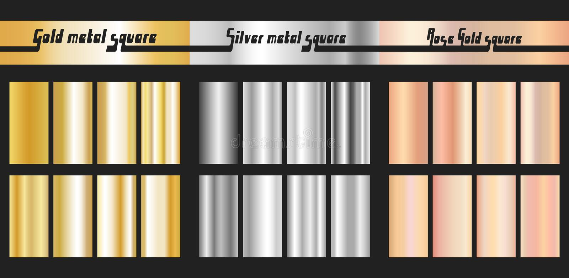 Argent d'or et gradient rose d'or image stock