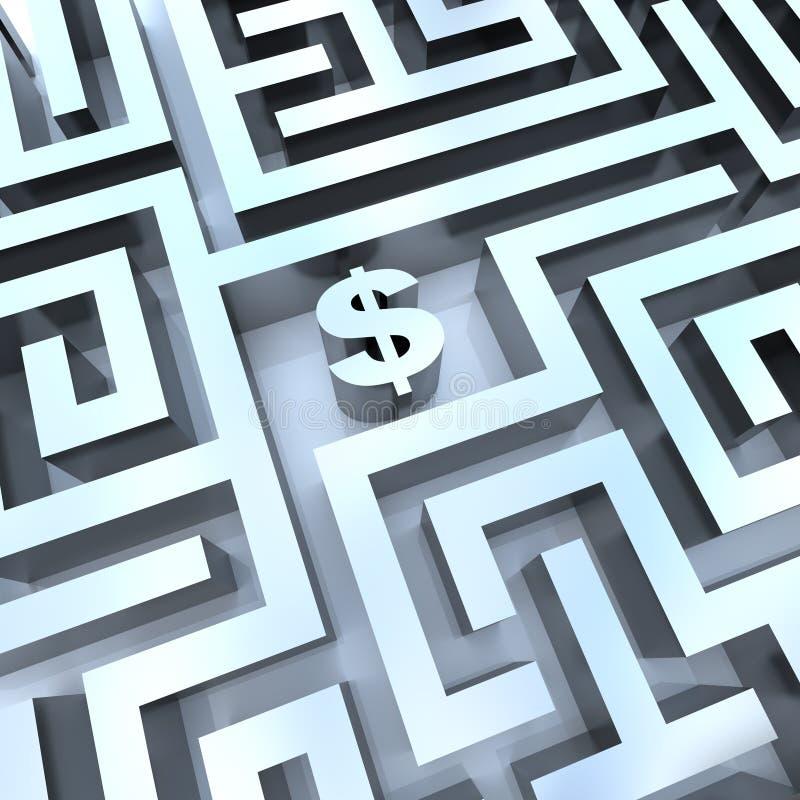 Argent dans le labyrinthe - le dollar signent dedans le milieu illustration stock