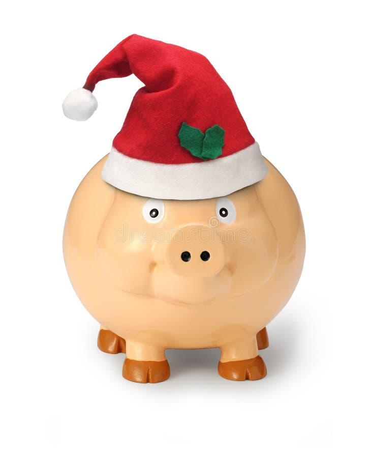 argent de cadeau de Noël de côté porcin photo stock