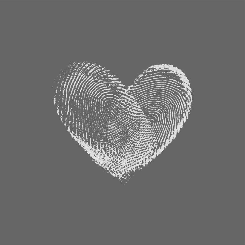 Argent de coeur d'empreinte digitale photographie stock