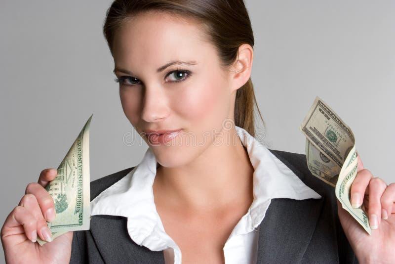 argent de femme d'affaires images stock