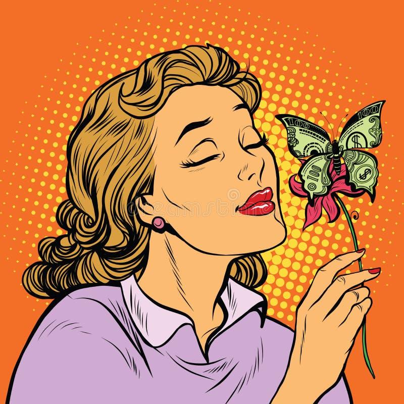 Argent de femme et de papillon le concept de la charité illustration stock