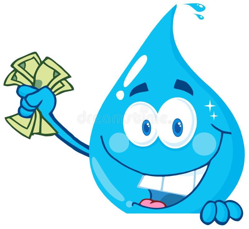 Argent de fixation de baisse de l'eau illustration stock