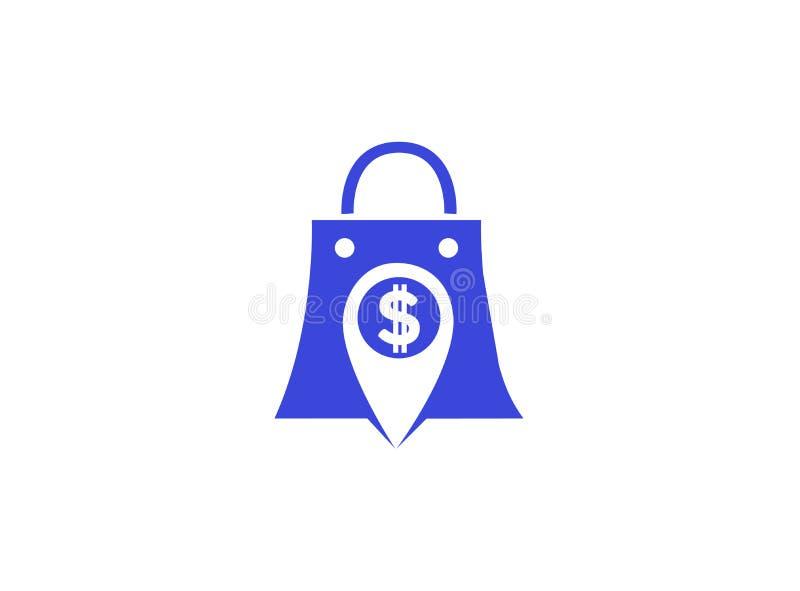 Argent de goupille de sac à main à un arrière-plan blanc pour l'illustration de conception de logo illustration libre de droits