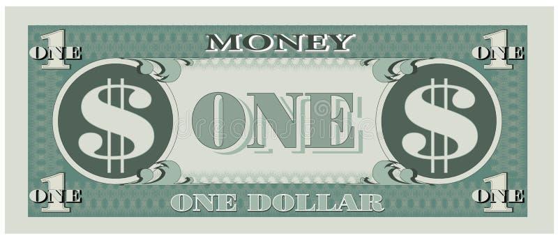 Argent de jeu - un billet d'un dollar illustration de vecteur
