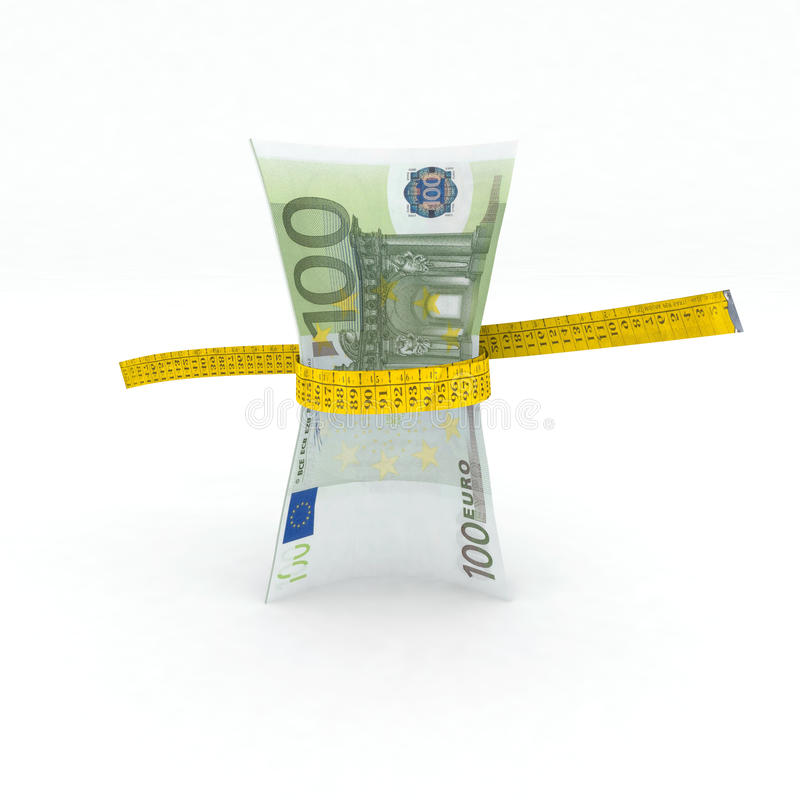 argent de l'euro 100 dans la bande de mesure illustration de vecteur