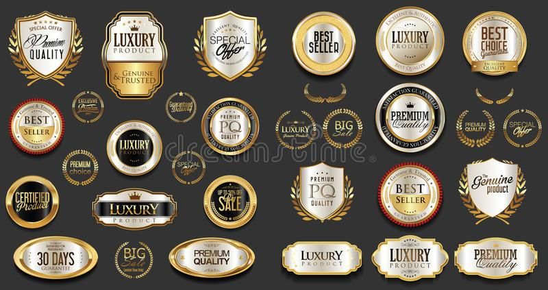Argent de la meilleure qualité et de luxe et rétros insignes et collection noirs de labels illustration de vecteur