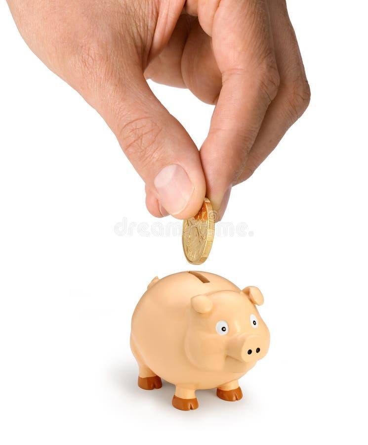 argent de main de côté porcin photographie stock libre de droits