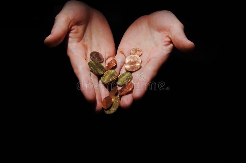 argent de mains images libres de droits