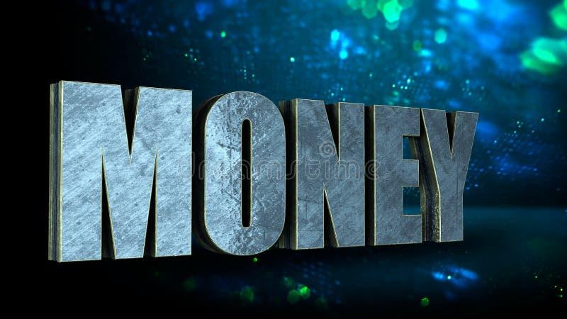argent de mot en métal 3D à l'arrière-plan bleu de bohek, concept de devise d'affaires rendu 3d photo libre de droits