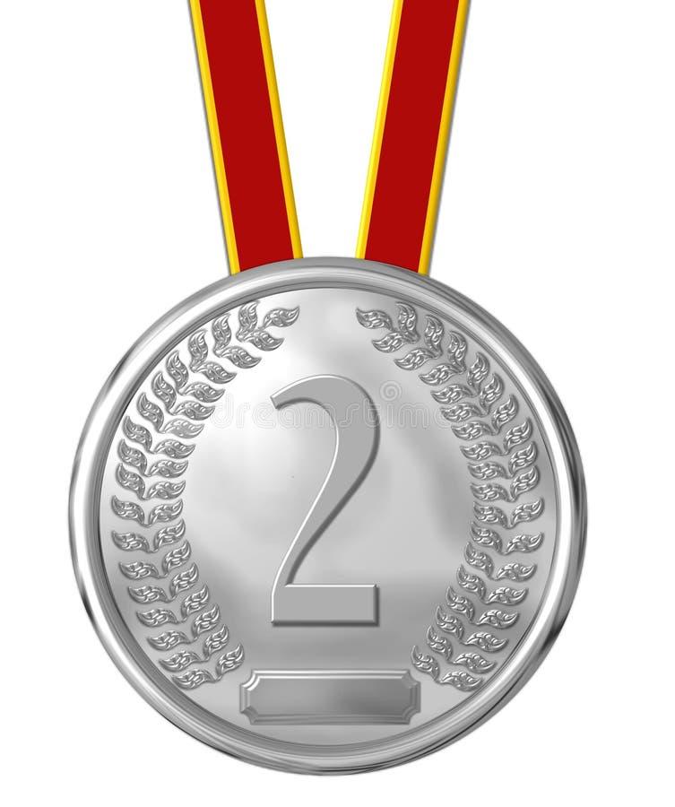 argent de numéro de 2 médailles illustration stock
