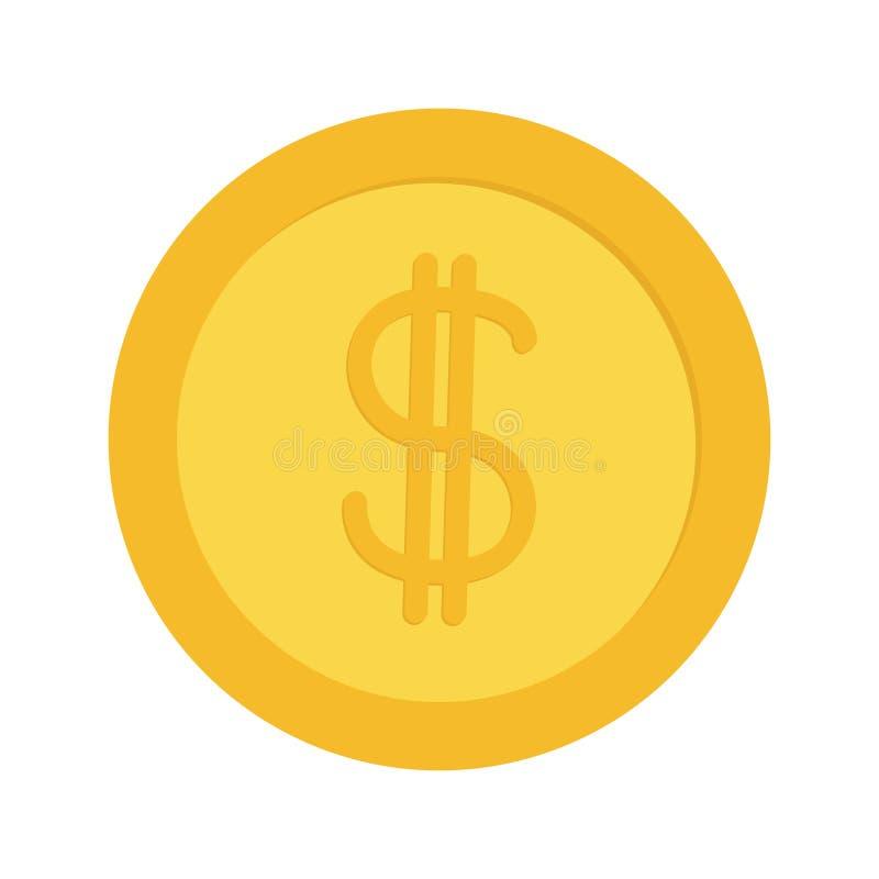 Argent de pièce d'or avec le symbole de symbole dollar Icône d'opération au comptant Concept de richesse Conception plate D'isole illustration de vecteur