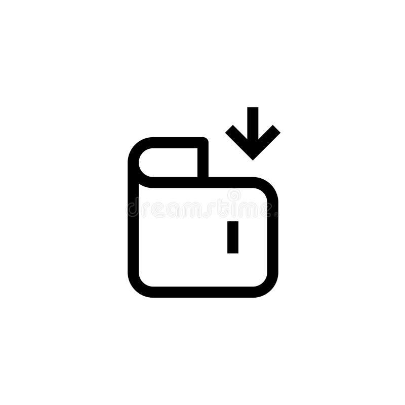 Argent de revenu de bureau dans la conception d'icône portefeuille avec le symbole de flèche de bas propre simple concept profess illustration stock