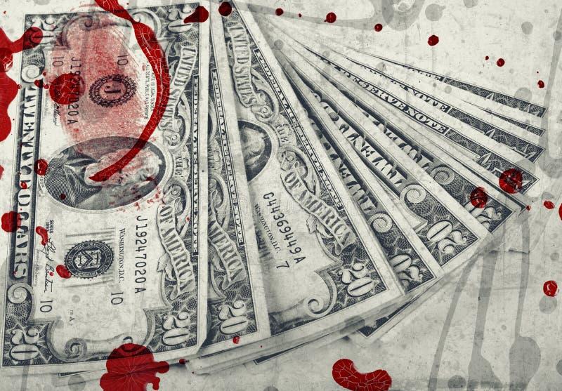 Argent de sang, dollars US photographie stock