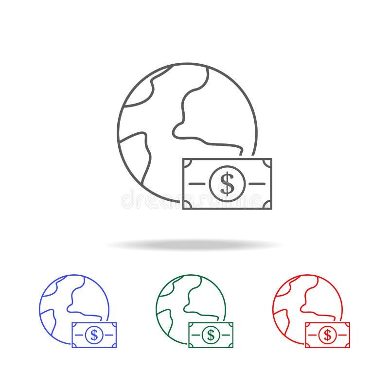 argent en cercle de l'icône de la terre Éléments dans les icônes colorées multi pour les apps mobiles de concept et de Web Les ic illustration libre de droits