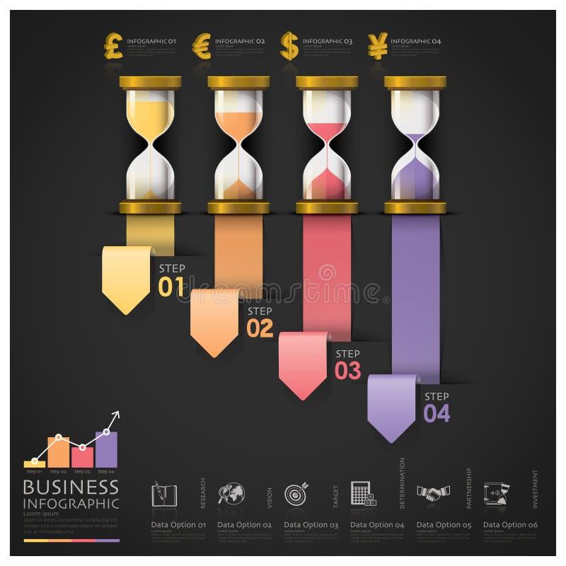 Argent et étape financière Infographi de Sandglass d'escalier d'affaires illustration stock