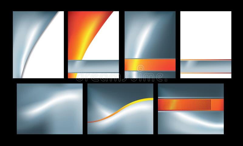 Argent et ensemble orange d'abstrait de 7 illustration stock