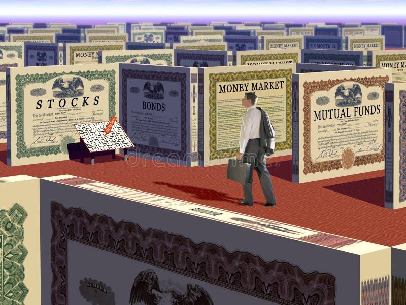 Argent et labyrinthe d'investissement images libres de droits