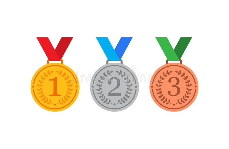 Or, argent et médailles de bronze avec les icônes plates de vecteur de ruban bleu pour des applis de sports illustration stock