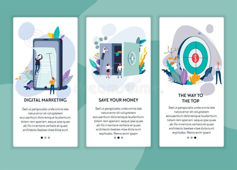 Argent et manière d'économies de vente de Digital de compléter le calibre de page Web illustration de vecteur