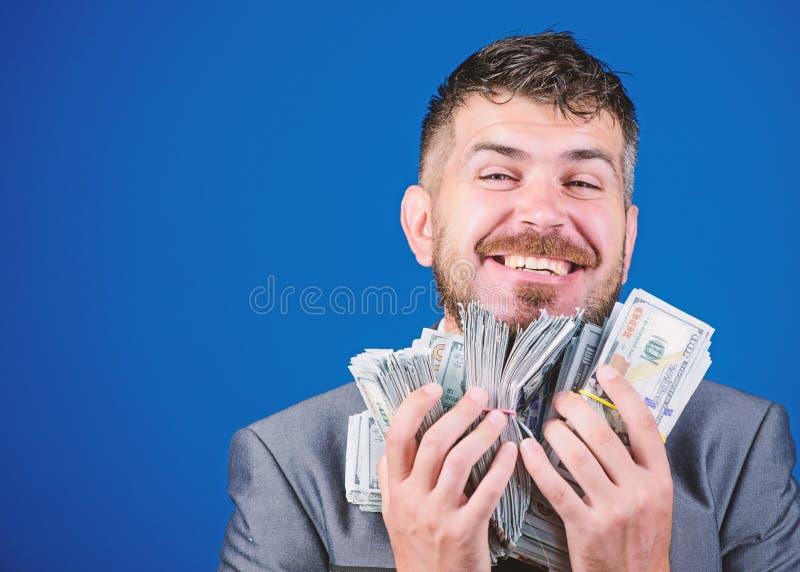 Argent et puissance gain d'une loterie homme d'affaires apr?s grande affaire Finances et commerce Succ?s d'affaires et de sport image libre de droits