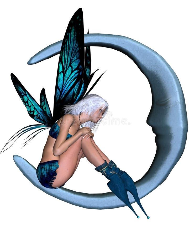 argent féerique de lune de 2 bleus illustration de vecteur