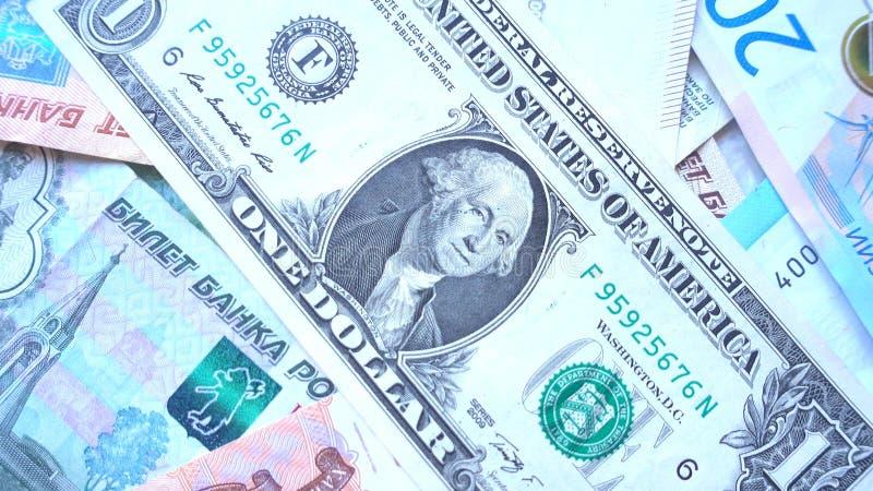 Argent Fermez-vous d'un un billet d'un dollar américain images libres de droits