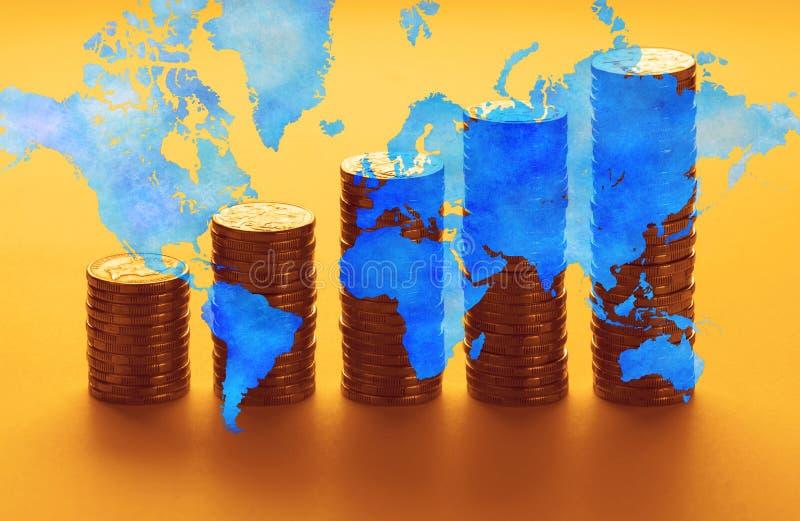 Argent global d'économie mondiale image stock