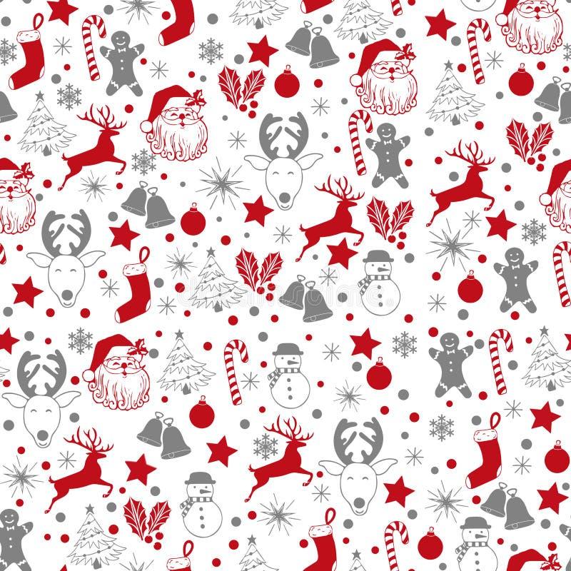 Argent gris sans couture de Noël et modèle rouge sur le fond blanc avec des cerfs communs, bonhomme de neige, sucrerie, chaussett illustration de vecteur