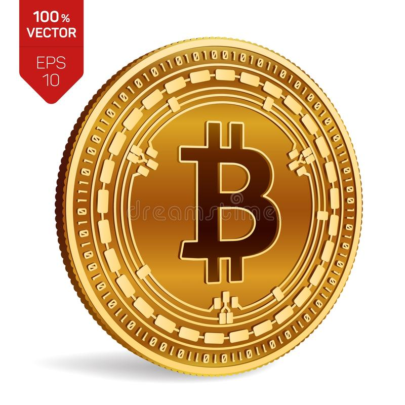 Argent liquide de Bitcoin pièce de monnaie physique isométrique du peu 3D Devise de Digital Cryptocurrency Pièce de monnaie d'or  illustration libre de droits