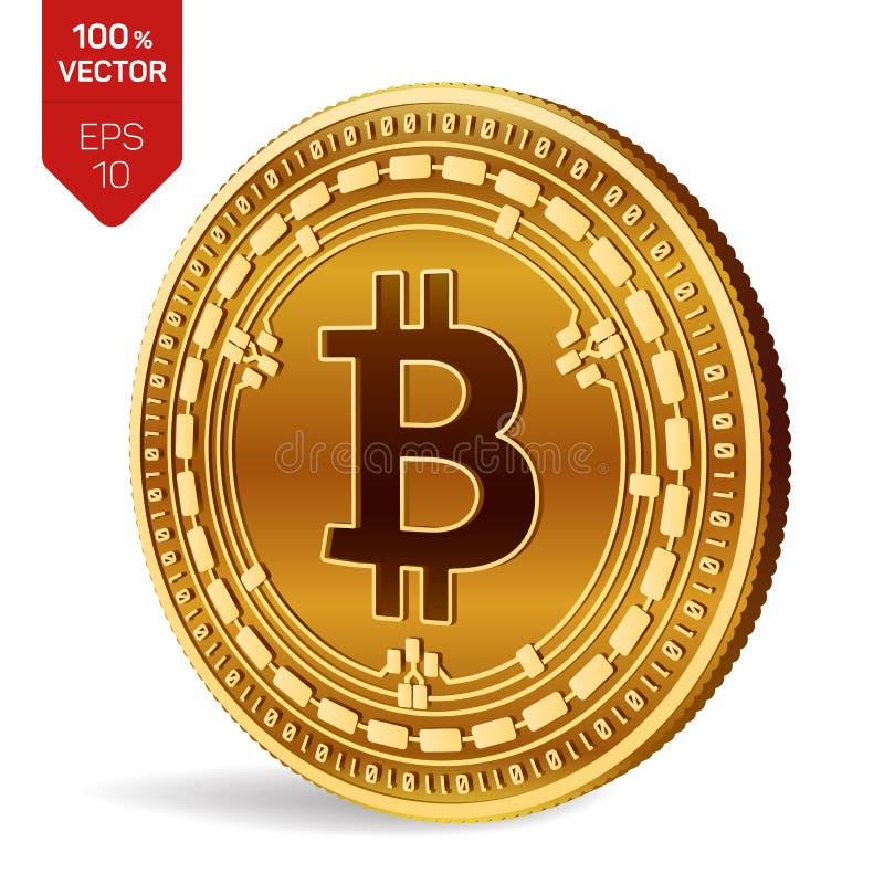 Argent liquide de Bitcoin pièce de monnaie physique isométrique du peu 3D Devise de Digital Cryptocurrency Pièce de monnaie d'or  illustration stock