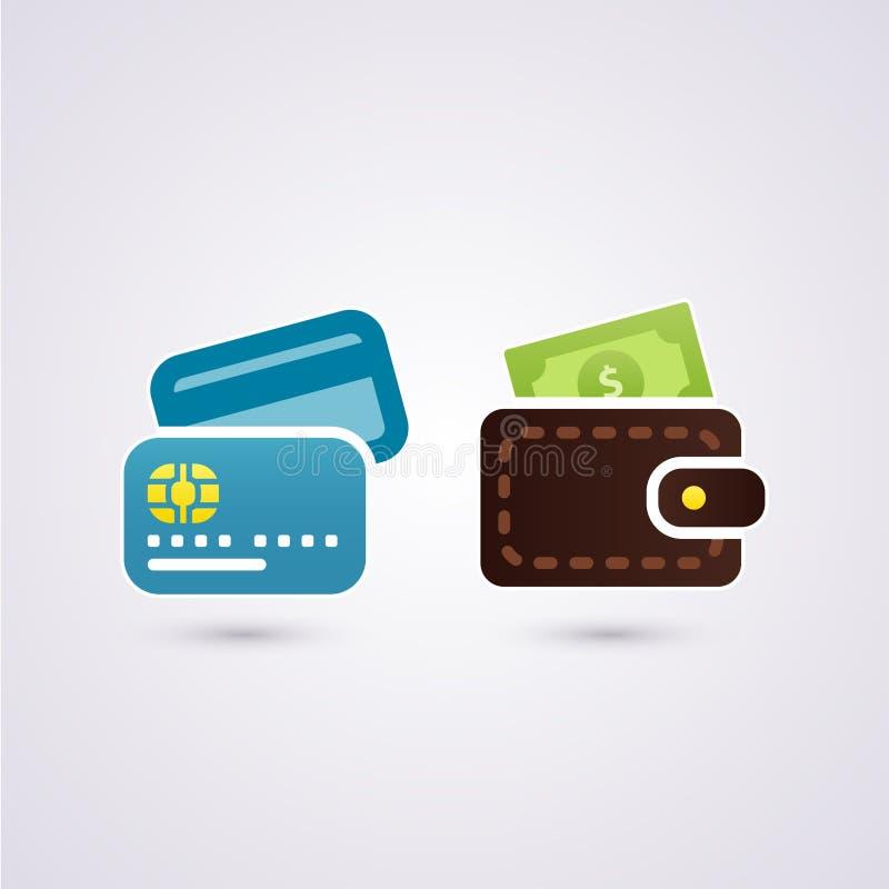 Argent liquide et carte de crédit illustration stock