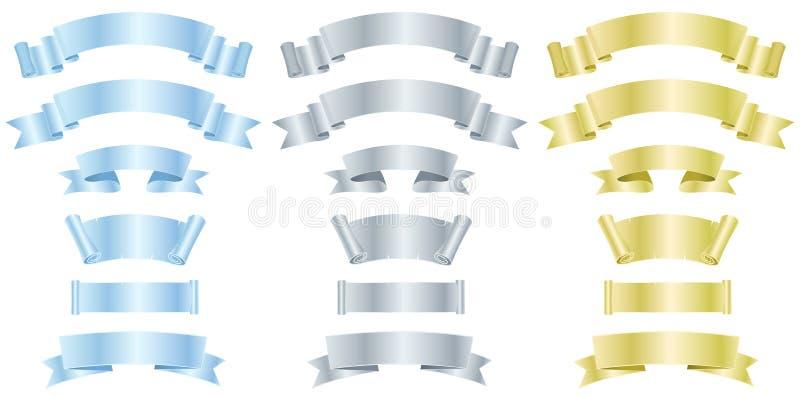 Argent, métal et drapeaux ou bandes d'or illustration de vecteur