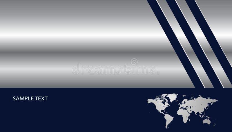 Argent métallique de fond avec la carte du monde illustration libre de droits