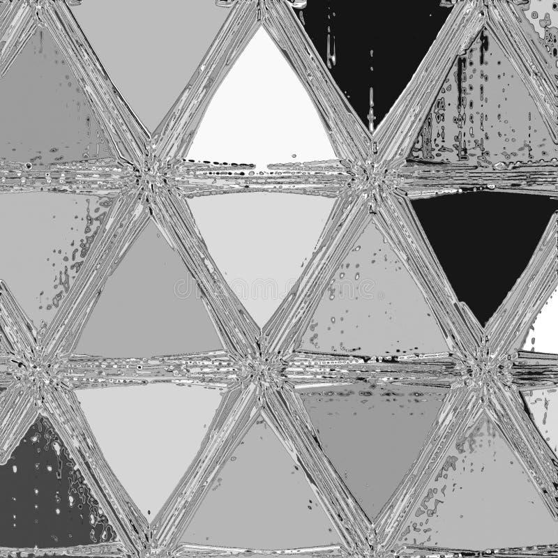 Argent metall och fortlöpande triangelmosaik för chrom stock illustrationer