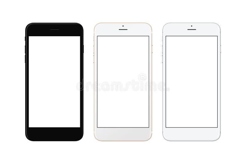 Argent noir et blanc et téléphone intelligent d'or blanc d'isolement Écran blanc pour la maquette photographie stock libre de droits