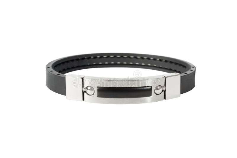 argent normal de latex d'isolement par bracelet noir image libre de droits