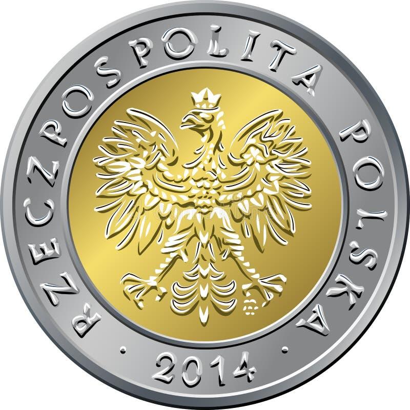 Argent polonais de face pièce de monnaie de cinq zloty illustration libre de droits