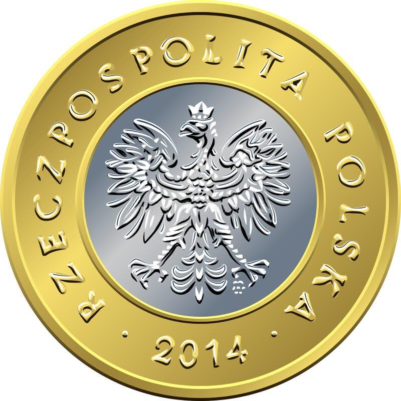 Argent polonais de face pièce de monnaie de deux zloty illustration libre de droits
