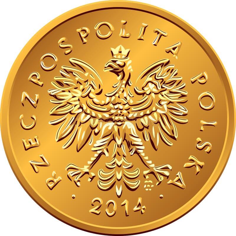 Argent polonais de face pièce de monnaie en cuivre de deux groszy illustration libre de droits