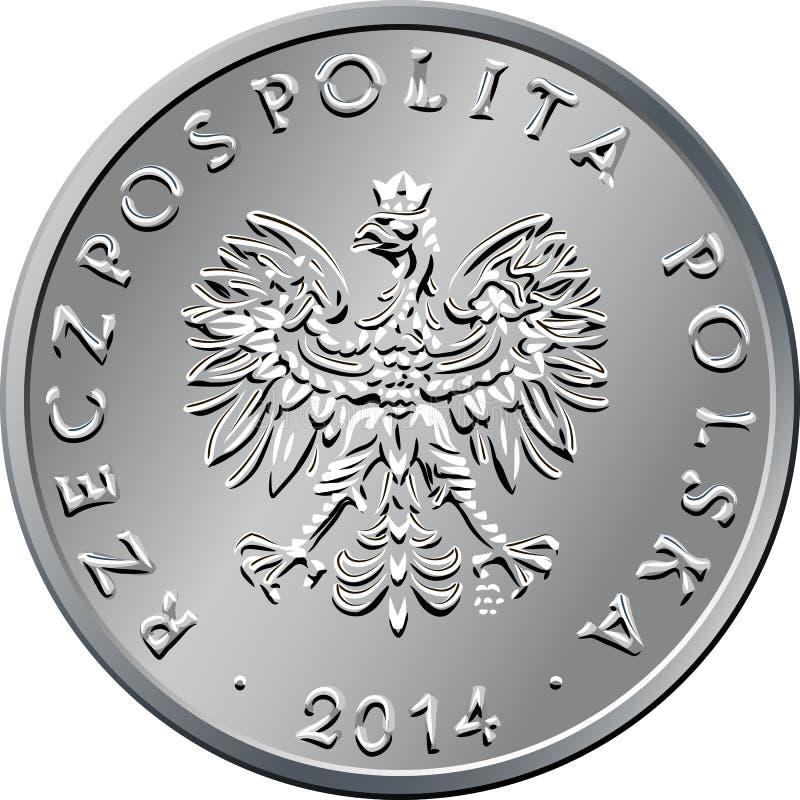 Argent polonais de face une pièce de monnaie de zloty illustration stock