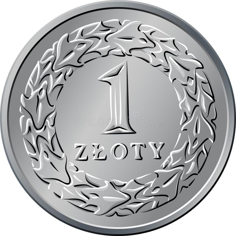 Argent polonais inverse une pièce de monnaie de zloty illustration stock