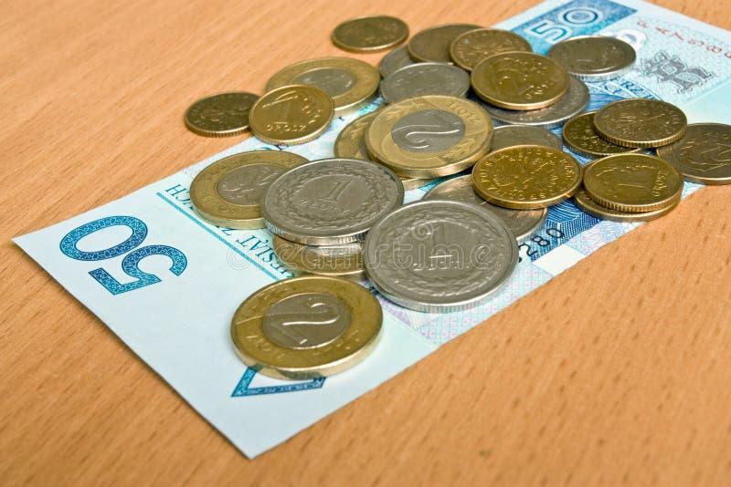 Argent polonais - zloty, billets de banque et pièces de monnaie images stock