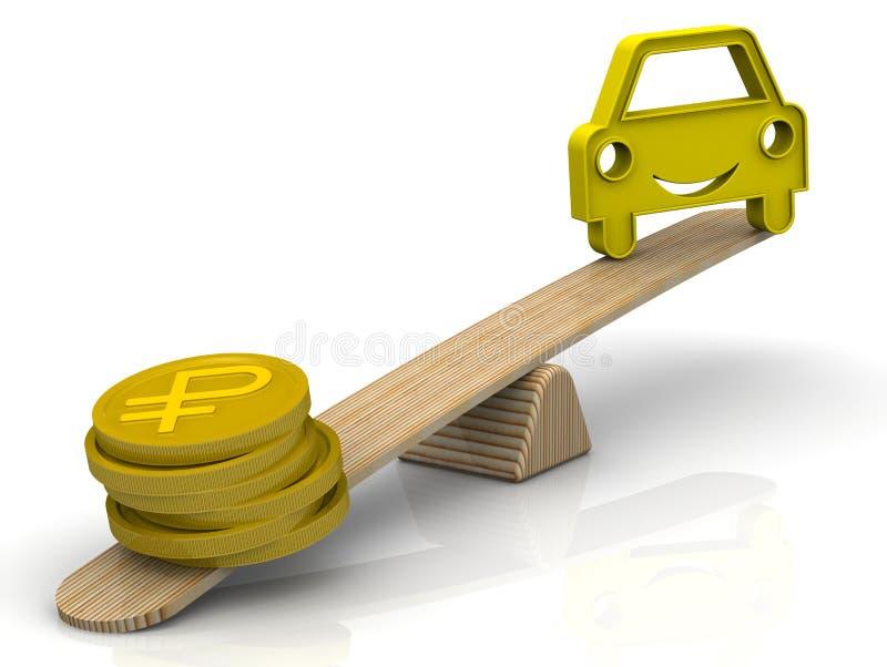 Argent pour la voiture Le concept de l'entretien cher ou d'acheter une voiture illustration stock