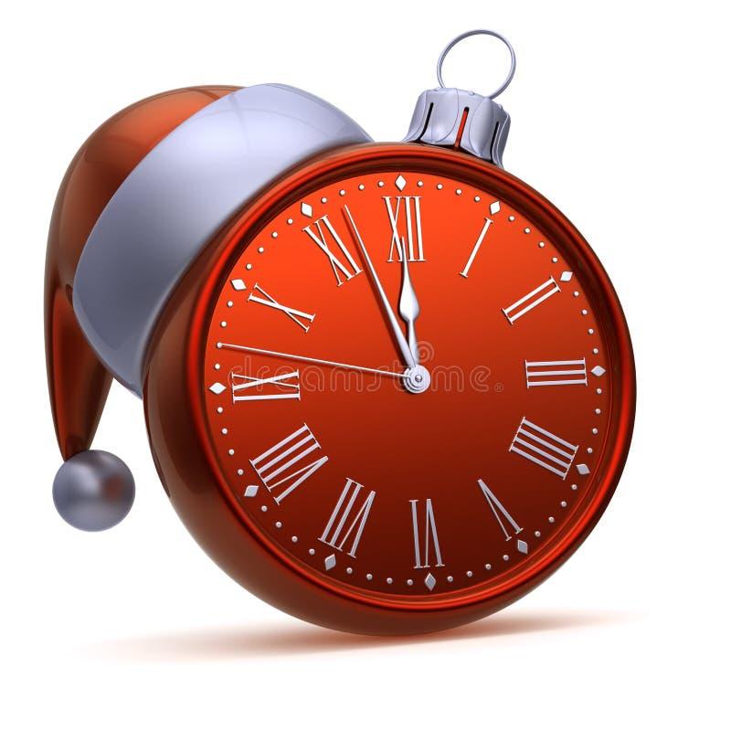 Argent rouge de boule de Noël de visage d'horloge Nouvelle année d'heure de minuit de demi-heure illustration libre de droits