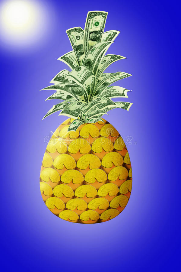 Argent sous forme d'ananas image stock